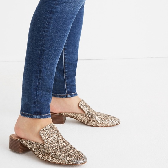 07c64283d4b Madewell Gold Glitter Willa Loafer Mules